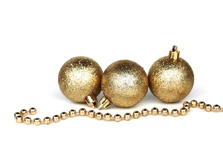 golden christmas ball isolated on white photo