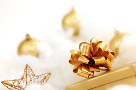 golden gifts on white close up Stock Photo - 10254837