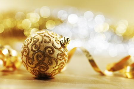 golden christmas card holiday background Stock Photo - 10254873