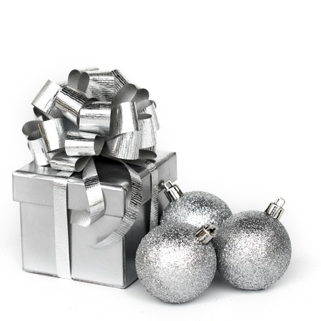 silver christmas: silver gift isolated on white Stock Photo