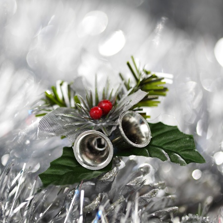christmas bell on bokeh background photo