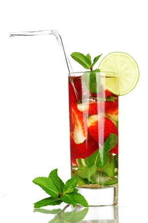 strawberry mojito isolated on white Stock Photo - 10254833