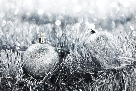 silver christmas ball on christmas background photo