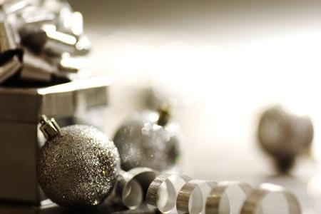 silver christmas card  macro close up photo