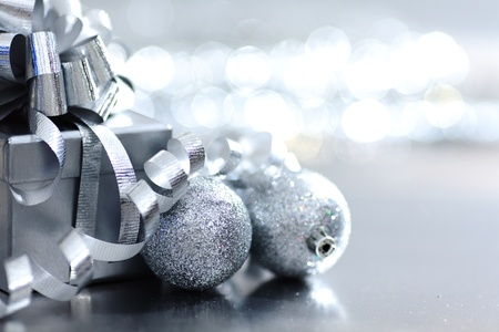joyous: silver christmas gift macro close up