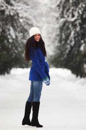 grins: winter woman Stock Photo
