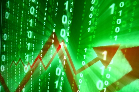 ged: abstract investment growth ged graph on green Stock Photo