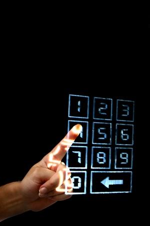 numpad: enter secret code on numpad security control Stock Photo