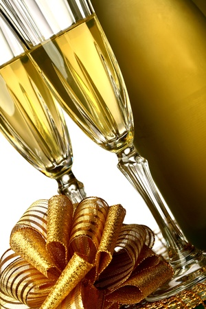 holiday card golden champagne and gift Stock Photo - 10316074