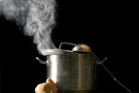 big pan and smoke on black Stock Photo - 10315998