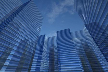 sky scrapers: skyscrapers 3d in sky business concept Stock Photo