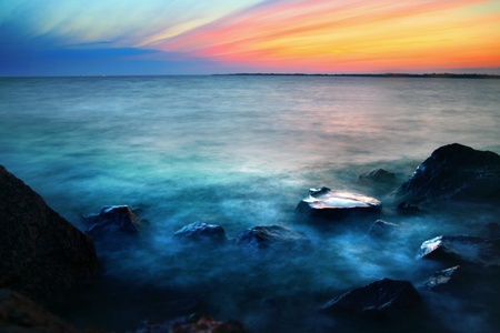 sea scenery: gold romantic sunset ocean water landscape Stock Photo