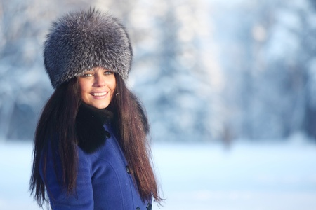 winter women close up portrait in frost forest Stock Photo - 10345245