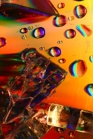 rainwater: colored water drops macro close up