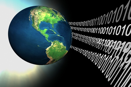 codigo binario: datos alrededor de la tierra 3d en el espacio negro