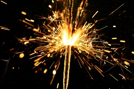 christmas sparkler firework flame on black Stock Photo - 10362046