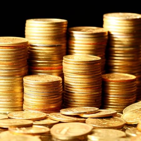 golden coins macro close up Stock Photo - 10362855