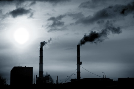 catalytic: factory smoke emissions pipes in the sky