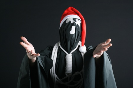 sante: sante claus mime with the rope on the neck