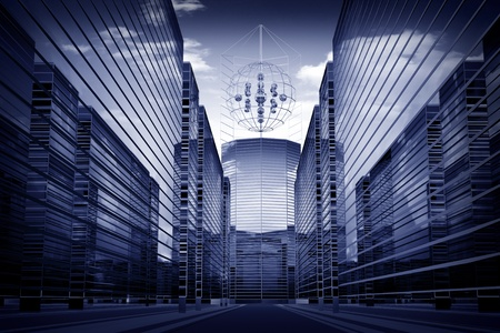 sky scrapers: scrapers abstract business concept 3d background