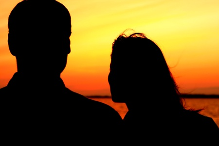 relax on gold sunset  romance flirt of two person on vacation Stock Photo - 10362789