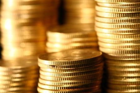 monete antiche: mucchi d'oro del fondo monete macro Archivio Fotografico