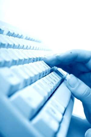 girl hands typing on keyboard macro close up Stock Photo - 10376063