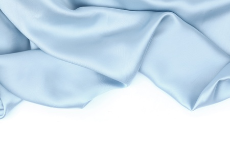 rippled:  blue satin isolated on white closse up Stock Photo