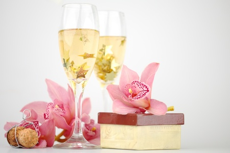 holyday card champagne and orchid Stock Photo - 10403341