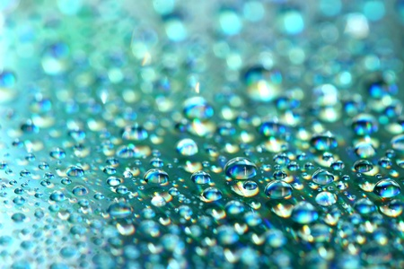 rainwater: clean blue waterdrops macro background Stock Photo