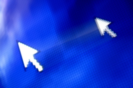 hit tech: cursor arrow in move abstract background
