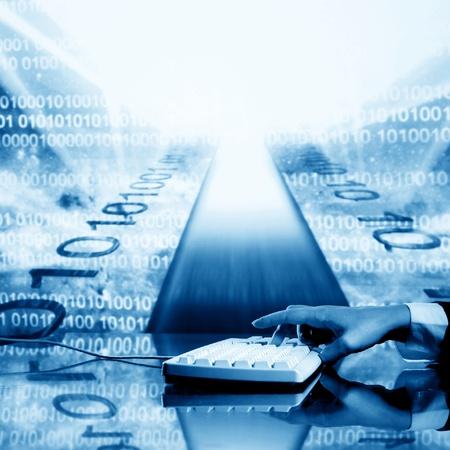 businessman input data information on keyboard photo
