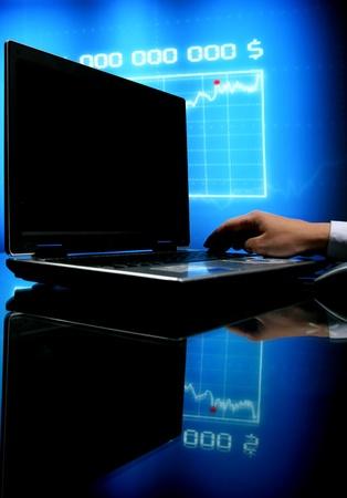 laptop finance work close up photo