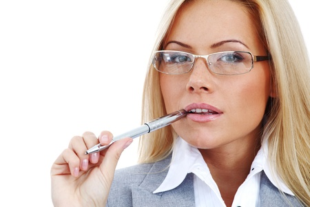 woman wearing glasses: business woman in glasses on white background pen in hands Stock Photo