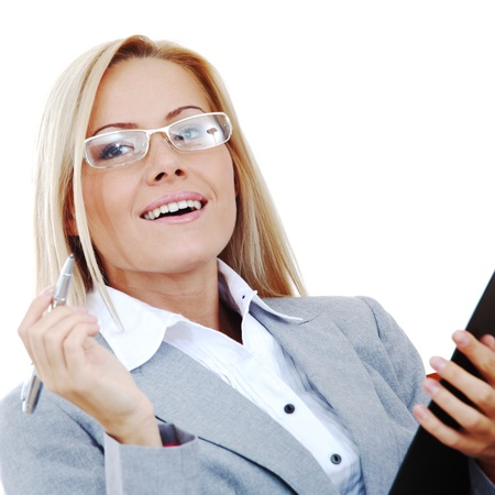 business woman hold a folder of papers  and write photo