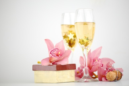 holyday: holyday card champagne and orchid