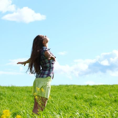 summer woman fly in blue sky