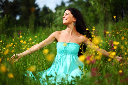 on pasture: nature love woman on flower field Stock Photo