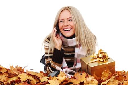 woman take autumn gift isolated in studio Stock Photo - 10435696