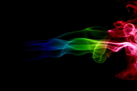 changing form: abstract mystical multi colored smoke  Stock Photo
