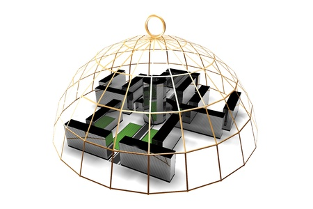 office environment: office in golden cage not freedom concept