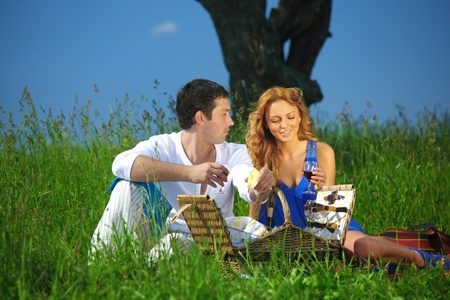 man and woman on picnic in green grass Stock Photo - 10469792