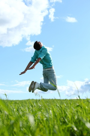 freedom: man jump in the blue sky