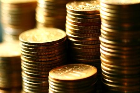 golden coins macro close up Stock Photo - 10504174
