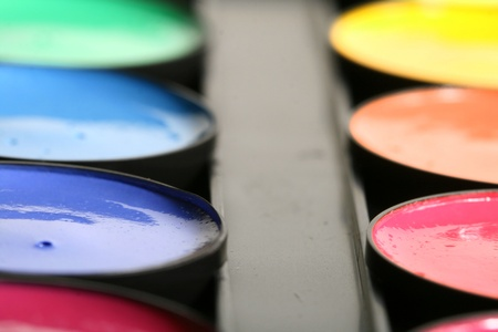 saturated color: paint colors pallete macro close up