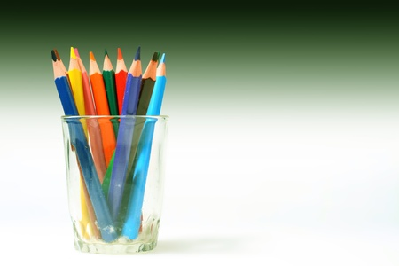color pencil in glass macro close up on white Stock Photo - 10504413