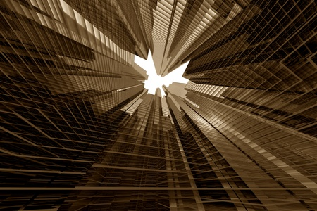 skyscrapers 3d in sky business concept