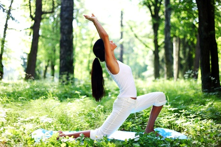 yoga woman on green park background Stock Photo - 10522895