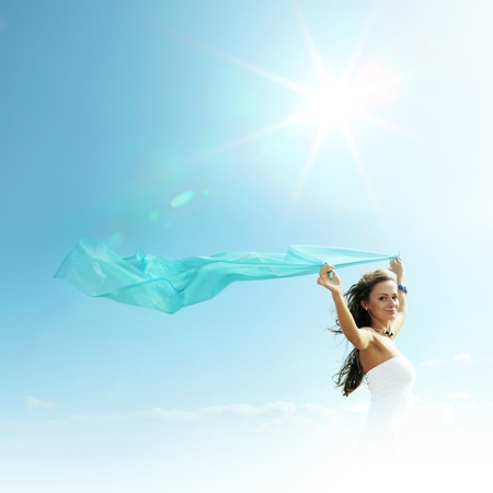 fly girl in the sky freedom concept Stock Photo - 10547887
