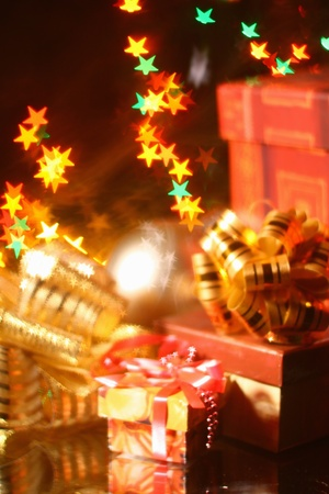 holiday gifts background warm stars Stock Photo - 10535327